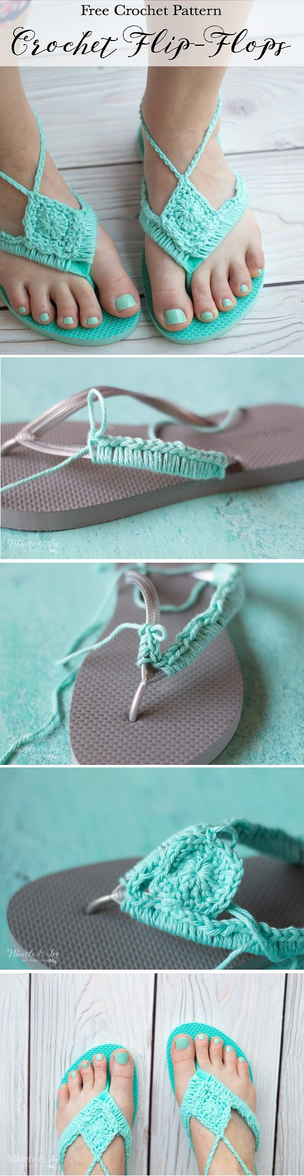 Crochet Flip Flops Upcycle - Turn your cheap foam flip flops into cute boho crochet sandals with this easy crochet hack.