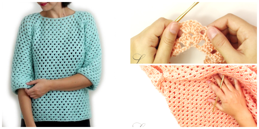 how to crochet a easy granny stripe sweater, which is beginner friendly.