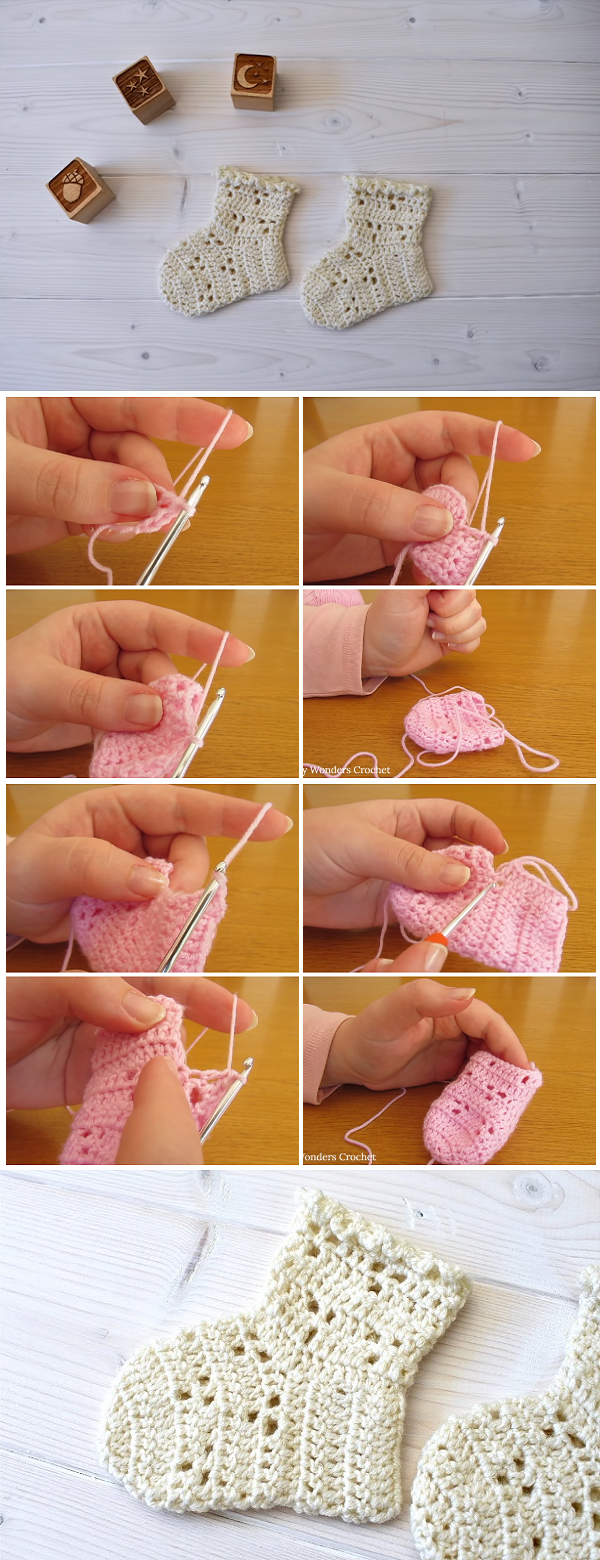 This tutorial will show you how to crochet pretty lace baby socks. This tutorial is suitable for beginners.