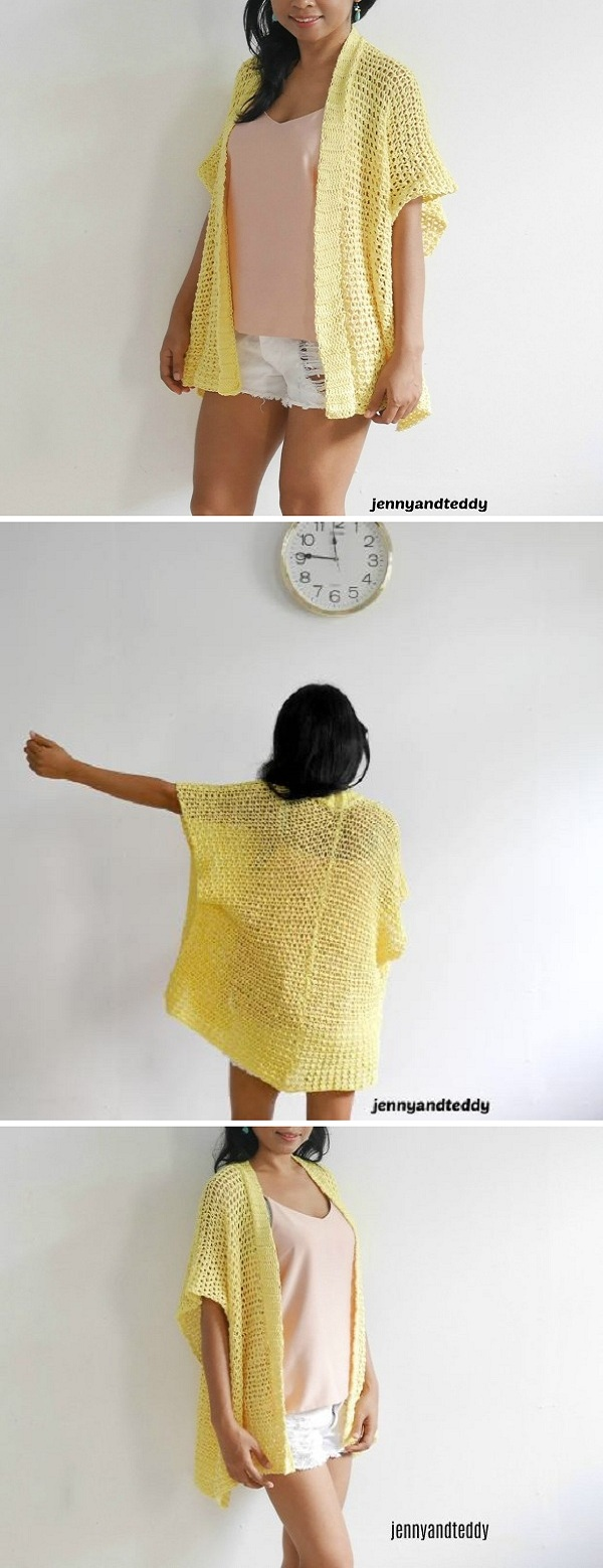 Here another summer cotton Lemonade summer crochet kimono cardigan for you guys to enjoy!