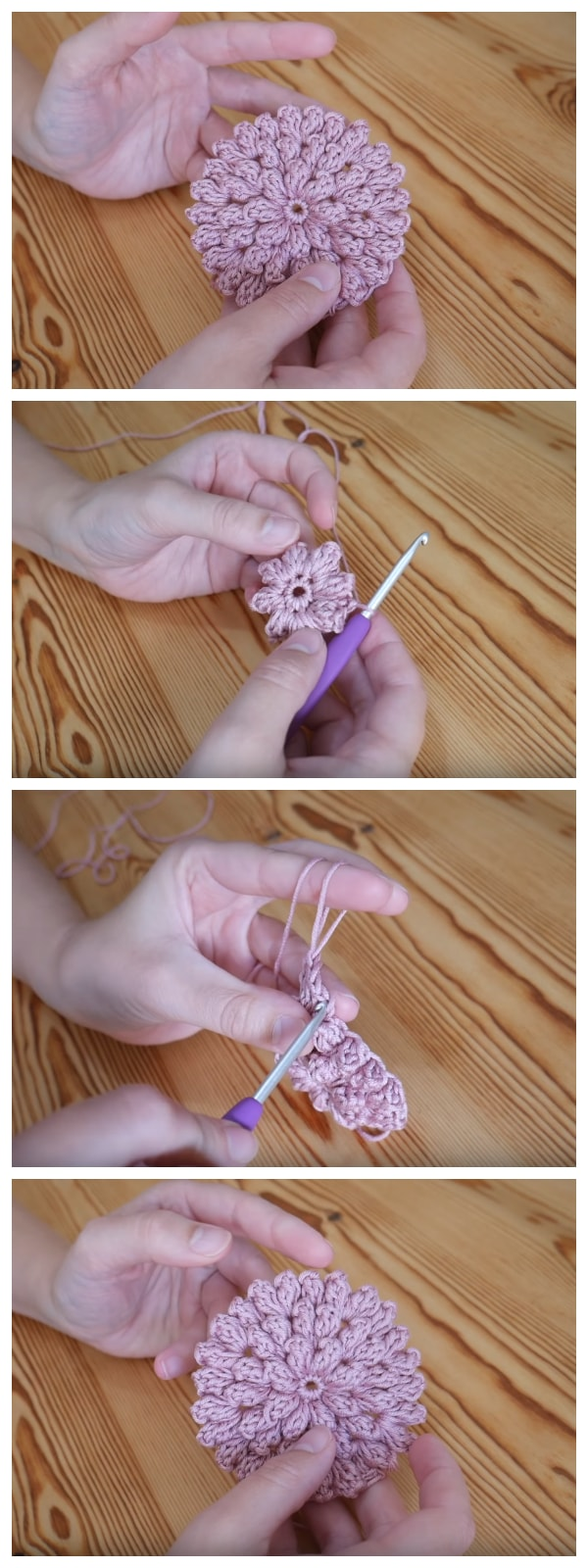 These gorgeous Crochet Popcorn Stitch Flowers are amazing, you can use this tutorial to make small flowers but also to continue to make it as large as you like for cushions etc.