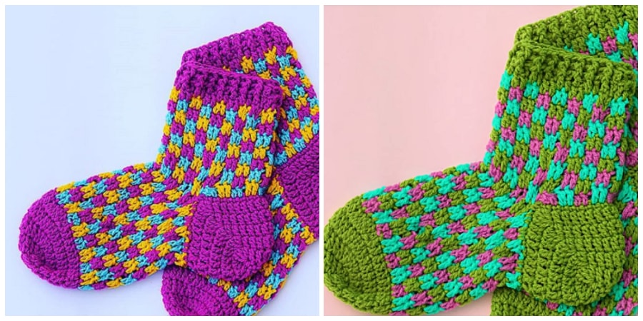 The tutorial of these Crochet Socks so easy to reuse adult wool but you can make them to your measure. Have you seen how pretty they are? I hope you like it