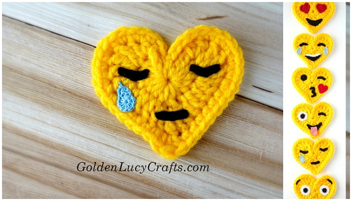 These little Crochet Heart Shaped Emojis are super adorable. You can use them for home decoration, embellishments, as appliques or just give them as a present to family or friends.