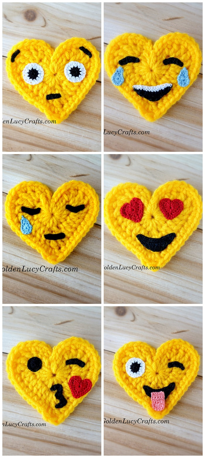Crochet Heart Shaped Emojis Crochet Kingdom