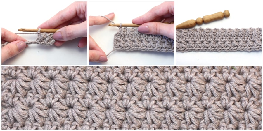 "Crochet Star Stitch creates a thick fabric with very little drape. Learn how to crochet the cosy and beautifully textured ""Star Stitch"" with this easy-to-follow video tutorial. Enjoy, guys !"