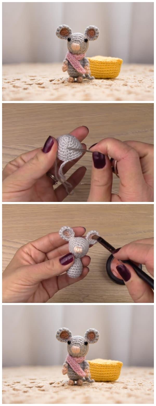 Amigurumi Crochet Mouse Bookmark | 1560x600