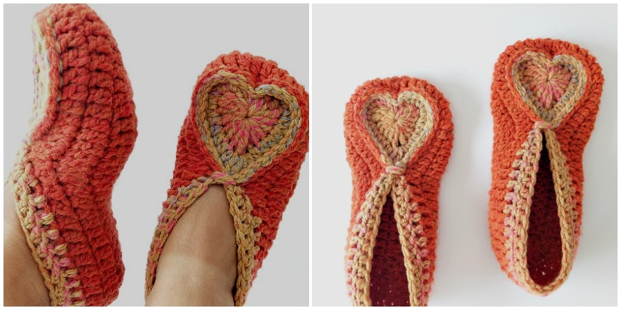 When I say comfortable, I really mean comfortable! These Crochet Heart Slippers are cute, comfy, and warm for your toes. With Valentine's Day being right in the middle of February, no one knows if the weather is going to be warm or cold. This crochet slippers is cozy . I'd love to make a mini heart for decoration. What do you think ?Enjoy !