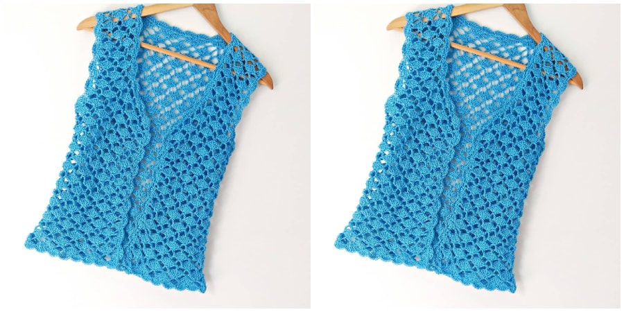 Step by step Crochet Vest Tutorial for women, in all sizes. This vest is an easy wear choice for warm summer days. This casual fashion hit will definitely get noticed, so show it off in style. Enjoy, guys !