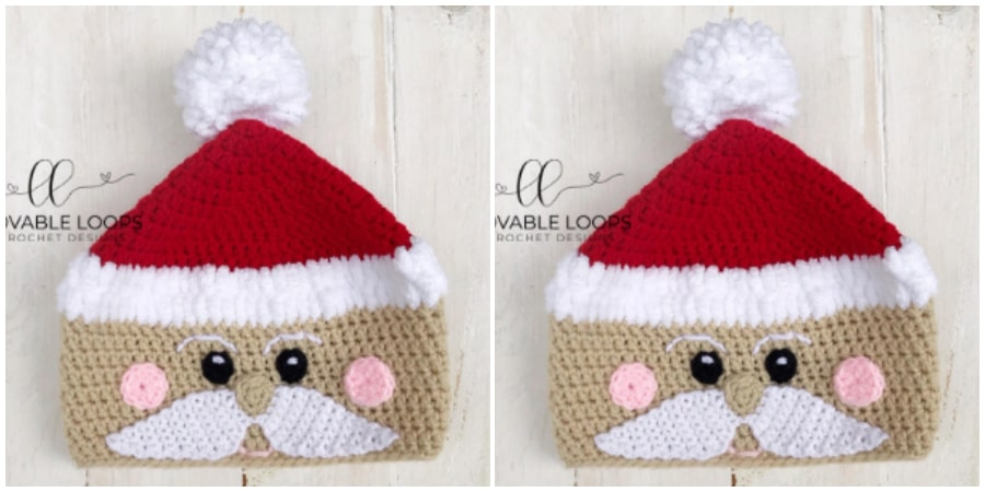 "It's hard to believe that Christmas is less than 6 weeks away. Customize your Crochet Santa hat. Use your choice of skin color, include or leave off the rosy cheeks, and/or change the color of the ""hat"" and ""brim"". The possibilities are endless!"