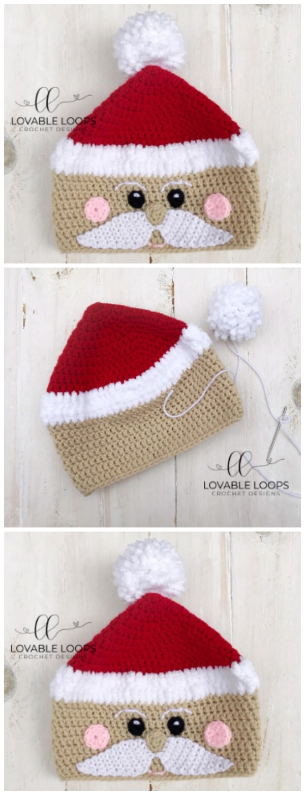 "It's hard to believe that Christmas is less than 7 weeks away. Customize your Crochet Santa hat. Use your choice of skin color, include or leave off the rosy cheeks, and/or change the color of the ""hat"" and ""brim"". The possibilities are endless!"