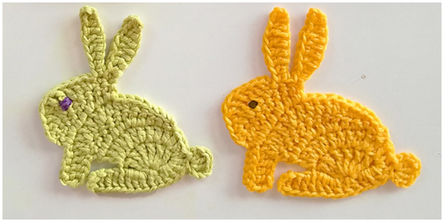 Small Crochet bunny rabbit applique motif, for home decoration or for children's items. Only takes a small amount of left-over yarn. The bunny in the photos is 9 cm (3½ in) high. Enjoy !