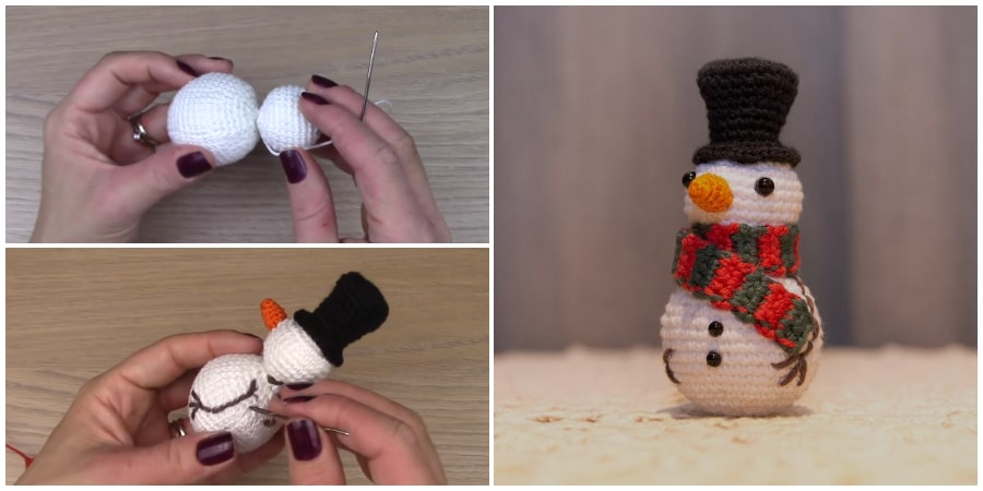 It's time to create holiday home decor and unique gifts. Here is another gift idea for Christmas - Cute Crochet Snowman Amigurumi dressed in bright striped winter hat and mittens. Enjoy !