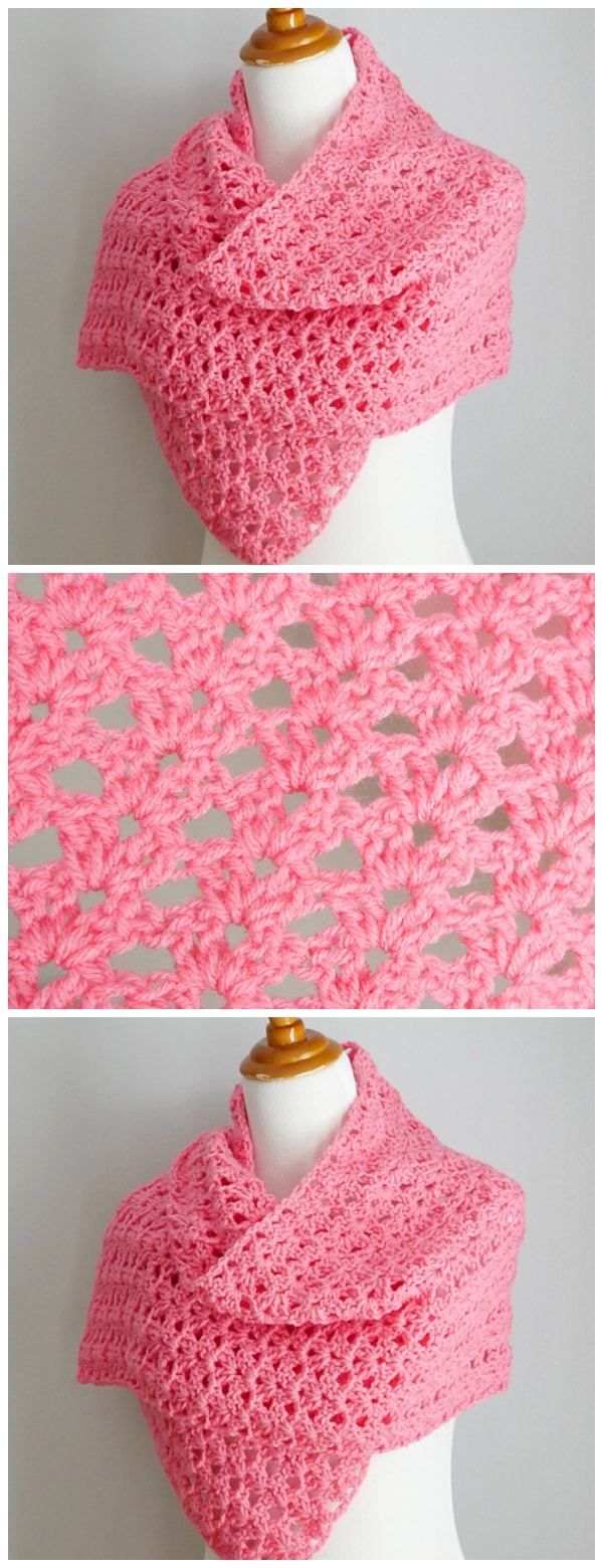 Crochet the Think Pink Friendship Shawl is a gorgeous and easy to stitch project for breast cancer awareness. This makes a very special gift for a friend, family member, or a support group. Looks equally lovely in stripes of pinks too. I love this ! Enjoy, guys !