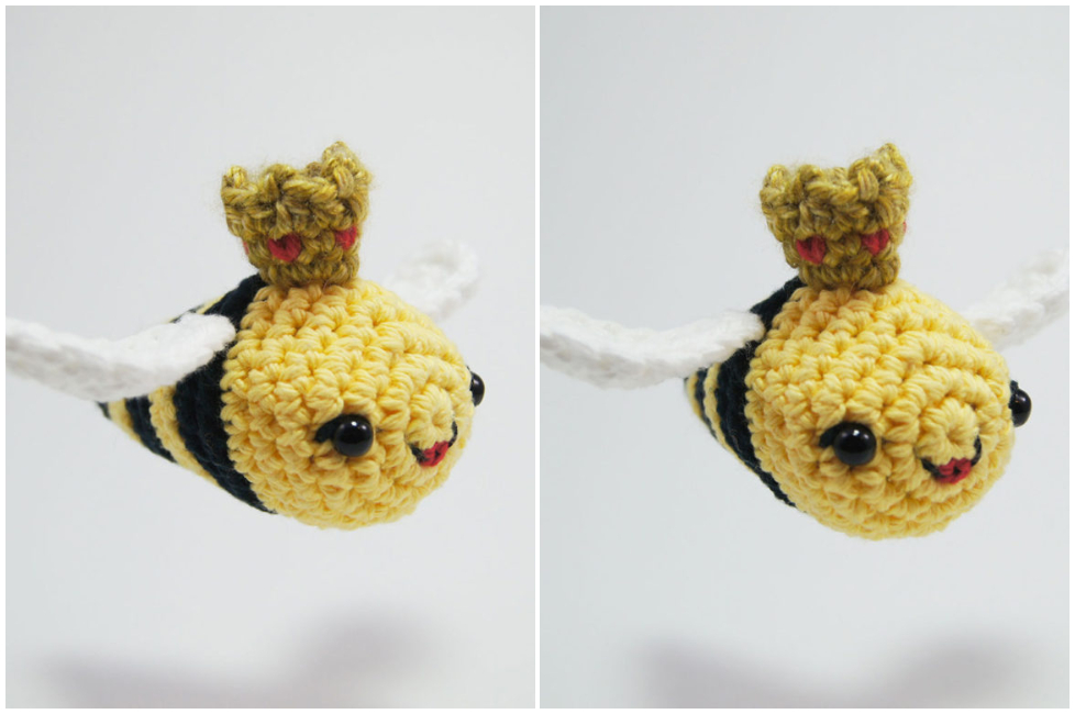 This little Queen Bee miniature amigurumi measures about 6 inches long when finished and includes 5 unique video tutorials to help you get through the tough parts. Enjoy !