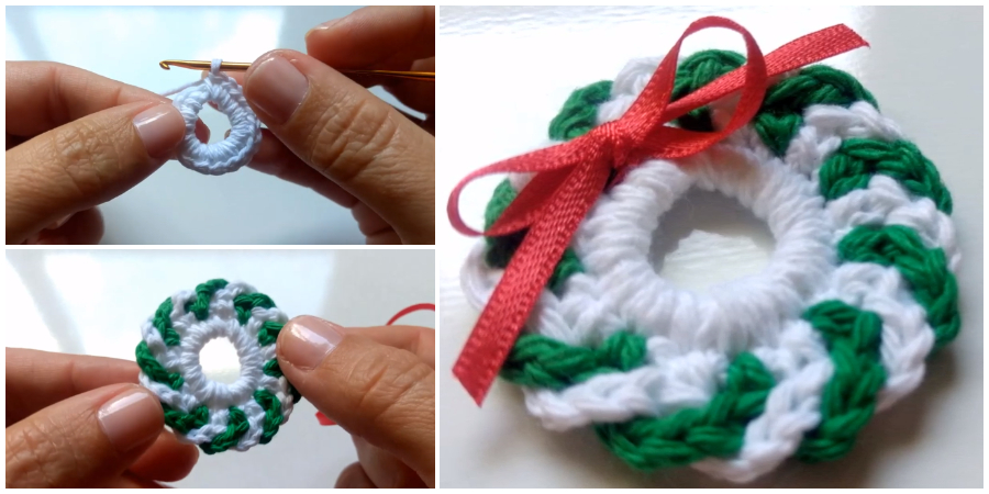 CHRISTMAS STOCKING WREATH CROCHET PATTERN