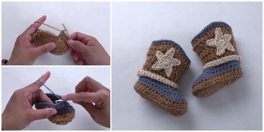 Crochet Cowboy Boot (3-6 months