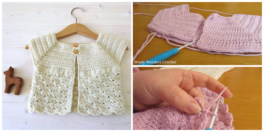 This tutorial will show you how to crochet an easy shell stitch cardigan / sweater.
