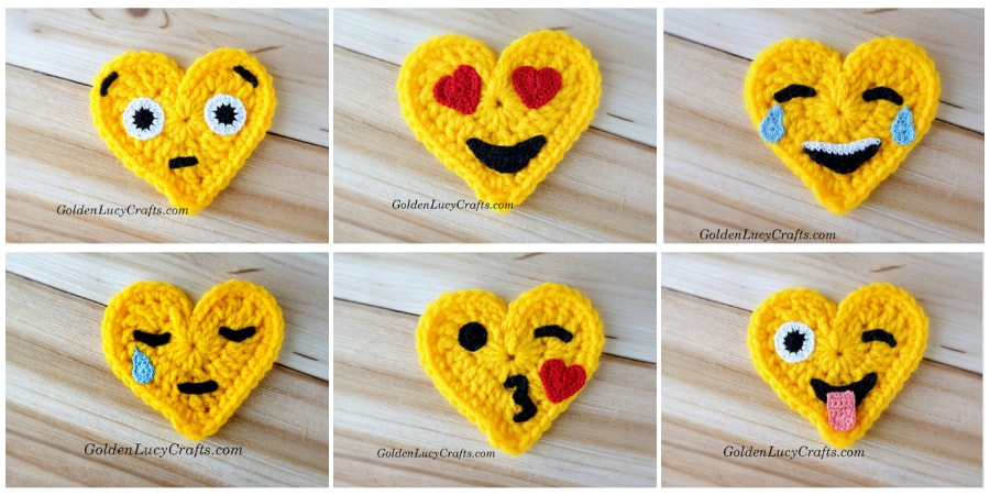 Crochet Emoji, Heart Eyes, Free Crochet Pattern – GoldenLucyCrafts | 450x900