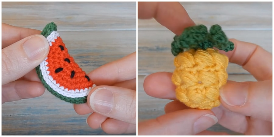 I show you how to crochet a teeny tiny mini Pineapple and Watermelon. This crochet pineapple is so bright and colorful it would look great in anyone's kitchen. Enjoy, guys !