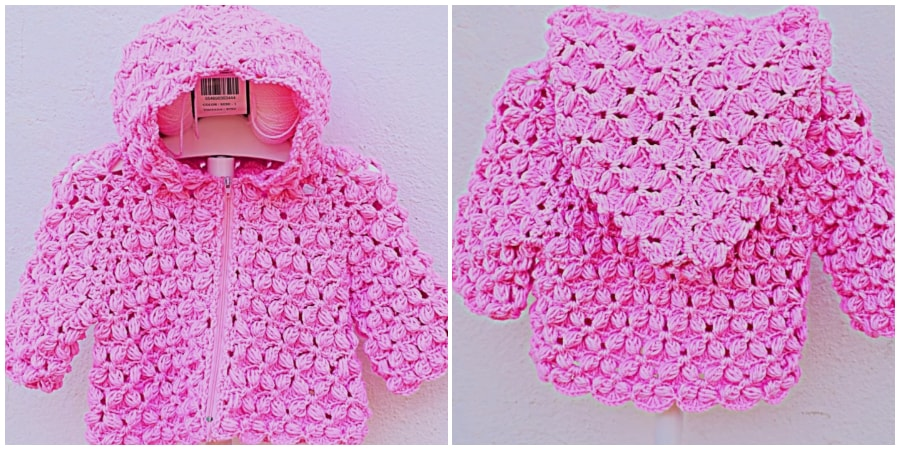Here is crochet hook pattern, I leave the tutorial on how to put a hood and neck in the pink jacket. You can also adapt it to any coat or sweater. I hope you like it. Enjoy, guys !