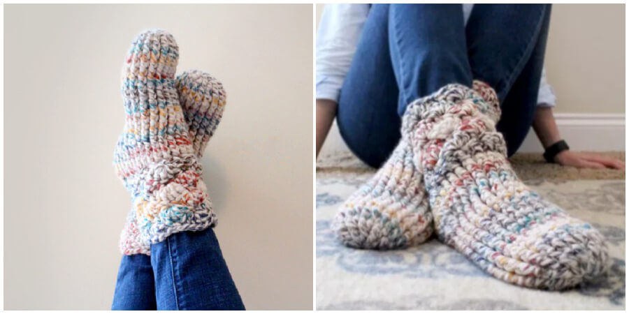 These crochet slipper socks useful handmade gift to make for the friends and family you want to show extra love to this holiday season. You will find written pattern and video tutorial. Enjoy !
