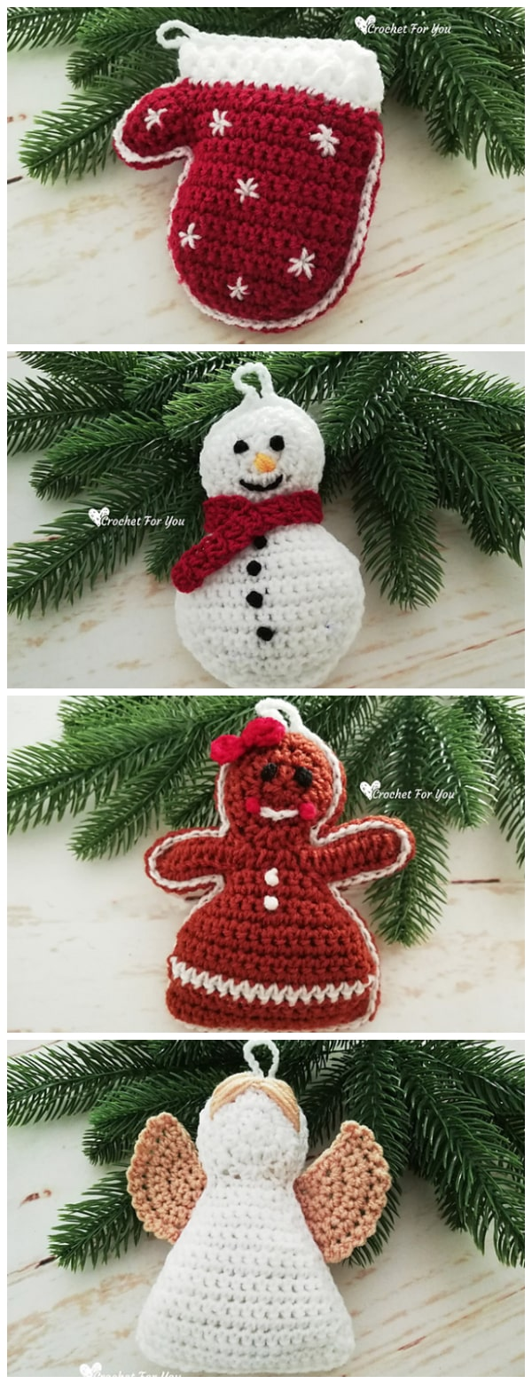 Your holiday decor will look oh-so-cozy with these easy Crochet Christmas Hanging Ornaments. These are wonderful Christmas decorations: a Gingerbread Girl, Santa, Mittens, Snowman and Angel. Happy Christmas !