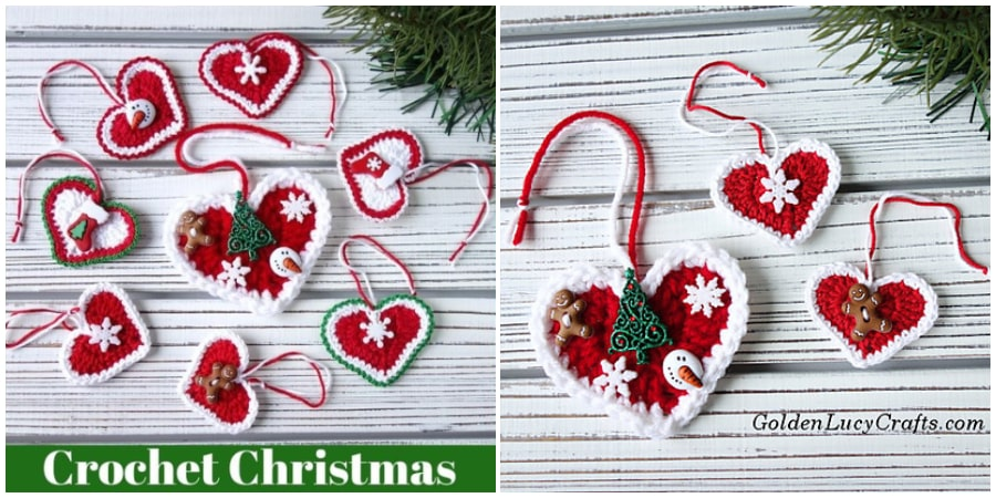 Here is Crochet Heart Ornament for Christmas! Make them for your tree, to decorate packages or to hang in other places. Make them for those you love. Color choices are up to you'we just love the Red Hearts. Happy Christmas !