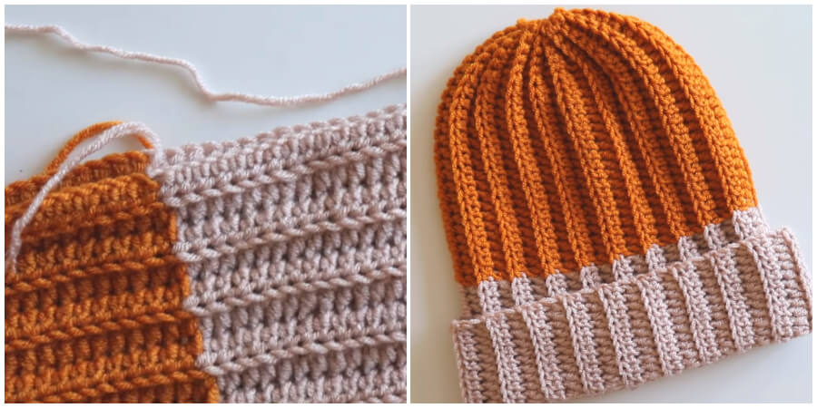 I'm going to show you how to make an easy, two collors Crochet Ribbed Hat. So here is a super easy ribbed crochet beanie that would be a great, step by step video tutorial for a beginners.