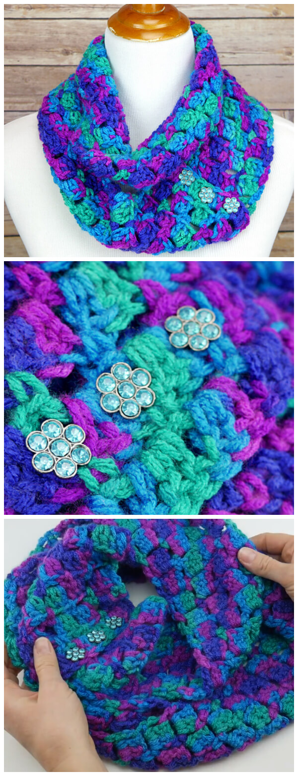 Crochet Joyful Jewels Infinity Scarf is a fun and super duper easy project. Fabulous jewel tones crocheted in a fun and easy stitch and are finished of with gem buttons for the perfect jewel tone look. Need a little extra help? There's a full video tutorial too!