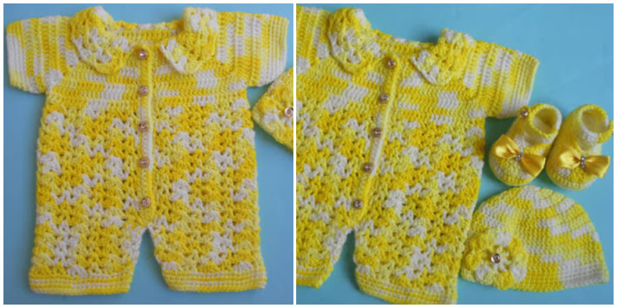 This is a Crochet Baby Romper Sweater set for the small babies, this romper set made for 0-3 months baby.
