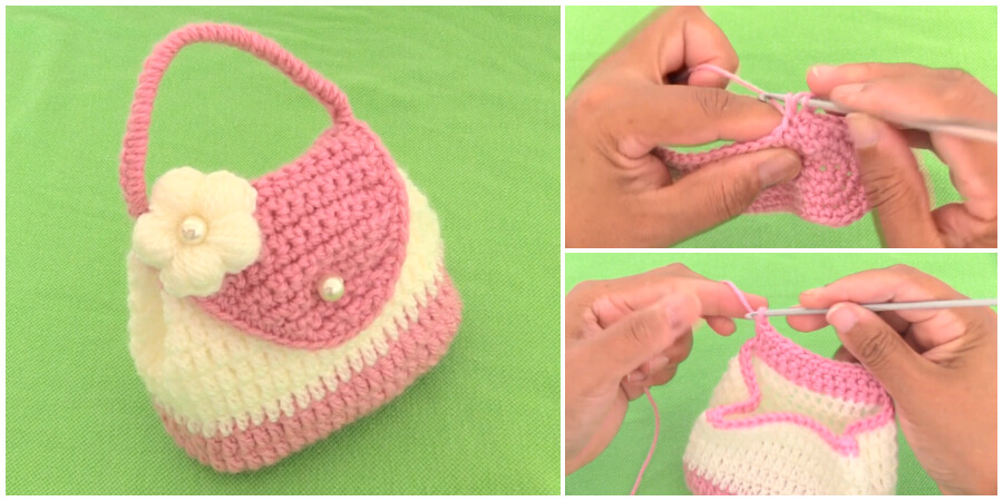 Crochet Bag With 3d Knit Flower Learn To Crochet Crochet Kingdom
