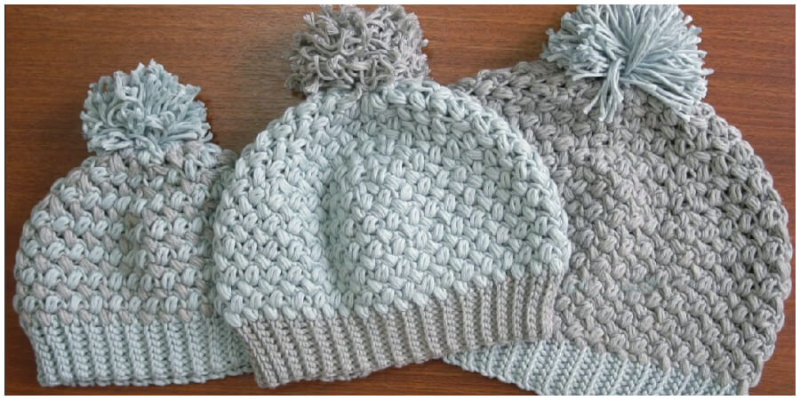 Make these adorable Super Easy Crochet bean stitch beanies (3 sizes). The bean stitch is a nice variation of the bulky stitches (bobble, popcorn and puff).