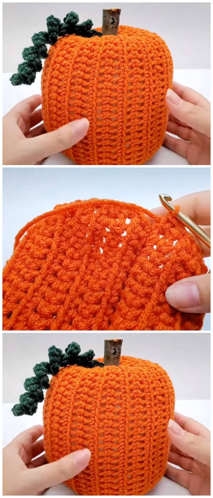 Learn how to crochet this Easy Crochet 3D Pumpkin for decoration. you can make this crochet pumpkin and size by adjusting the chain. Follow this easy crochet tutorial by bag o day crochet to learn how to make your very own crochet pumpkin.