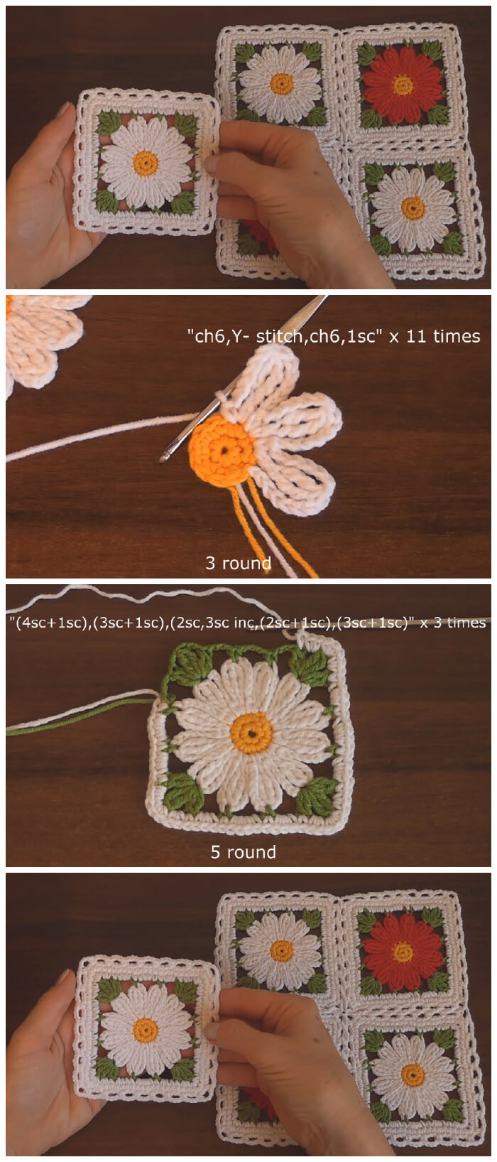 You can use this Easy Crochet Flower Motif as colourful coasters to decorate your table, (they would look amazing outside for all seasons dining).