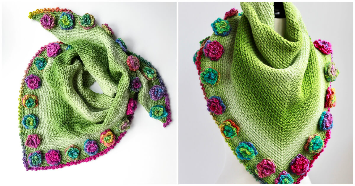 Crochet Flower Meadow Shawl Pattern features the modern and simple Moss Stitch with a fabulous flower edge detail.