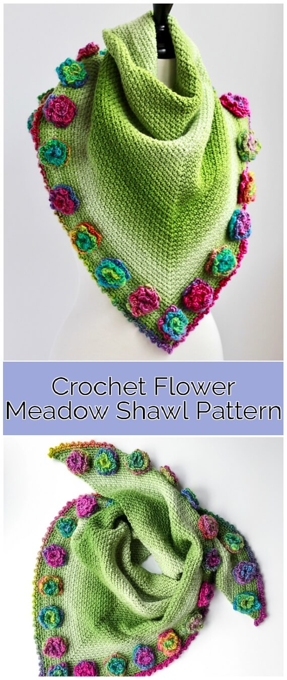 Learn to Crochet - Crochet Flower Meadow Shawl Pattern features the modern and simple Moss Stitch with a fabulous flower edge detail.