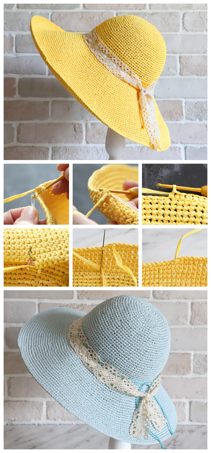How to Crochet - This is the perfect Crochet Raffia Beach Hat Pattern. You can wear them to the park, beach, pool, or basically anywhere.