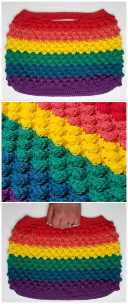 How to Crochet - The pattern and tutorial on how to make the main part of the Crochet Rainbow Bobble Bag is here.