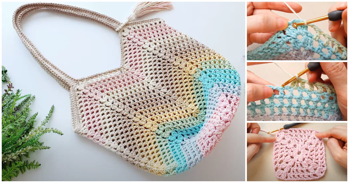 How to Crochet - This Granny Square Crochet Bag is great to use while shopping for groceries because you can re-use it each time you visit the store.
