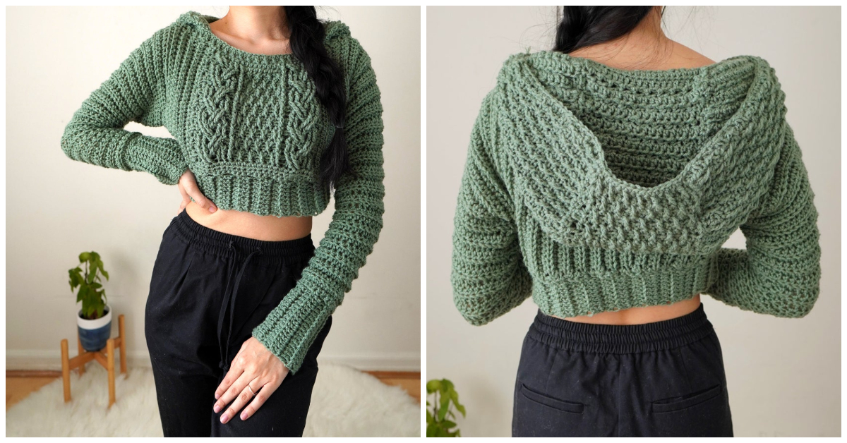How To Crochet Cable Stitch Cropped Hoodie Crochet Kingdom