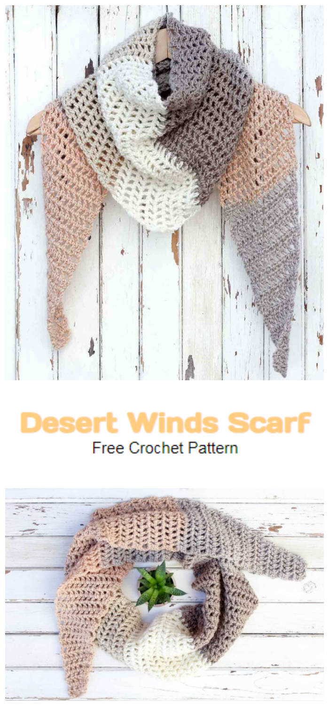 Modern Crochet Triangle Scarf