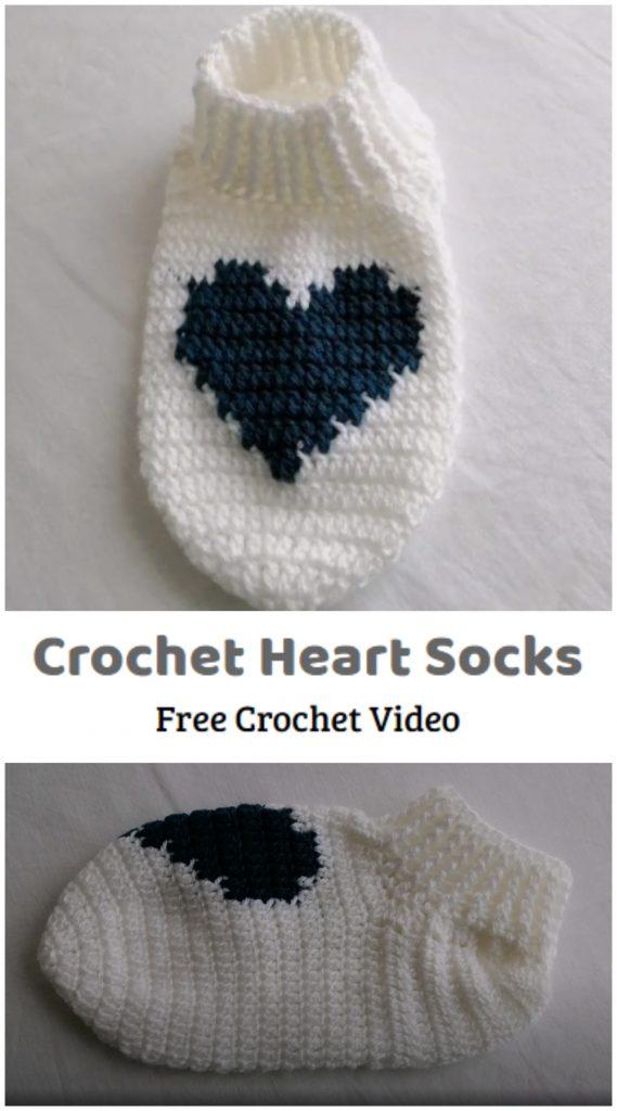Vamos a aprender a crochet el diseño de calcetines de corazón.  Si nunca los has hecho, te sorprenderá descubrir que los calcetines de crochet son un proyecto realmente divertido.