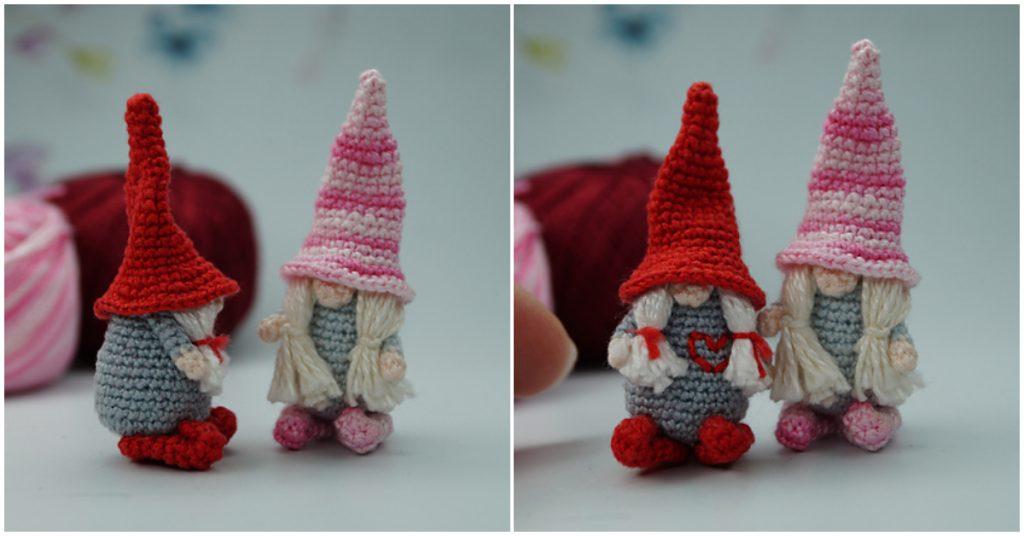 Crochet rápido y fácil Patrón Amigurumi Valentine Gnome.  Este patrón paso a paso incluye instrucciones detalladas ilustradas con una foto.